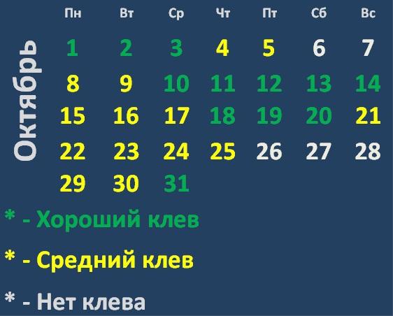 Календарь клева хищных рыб на Октябрь 2018